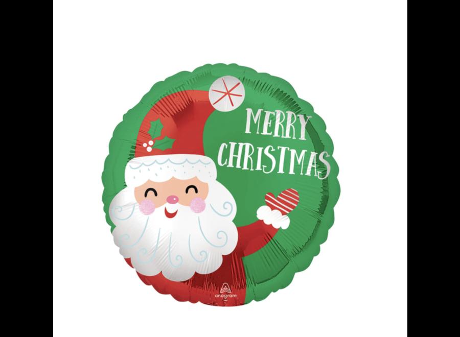 Kerstman Merry Christmas ballon groen