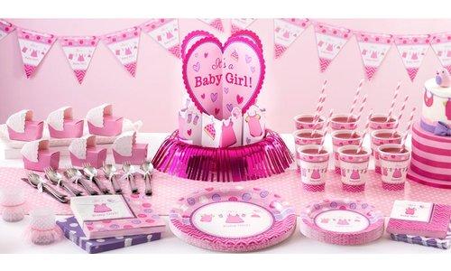 Baby girl roze feestartikelen
