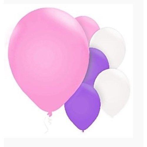 Ballonnen wit paars en roze