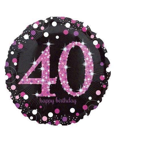 40 jaar folie ballon rond roze