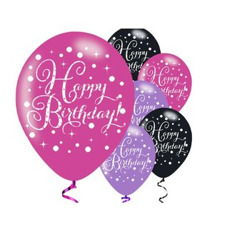 happy birthday ballonnen roze zwart