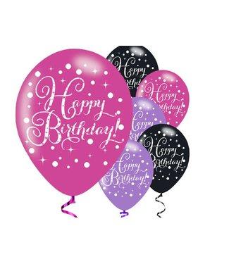 Amscan  happy birthday ballonnen roze zwart