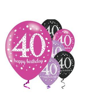 Amscan  40 jaar ballonnen roze - zwart