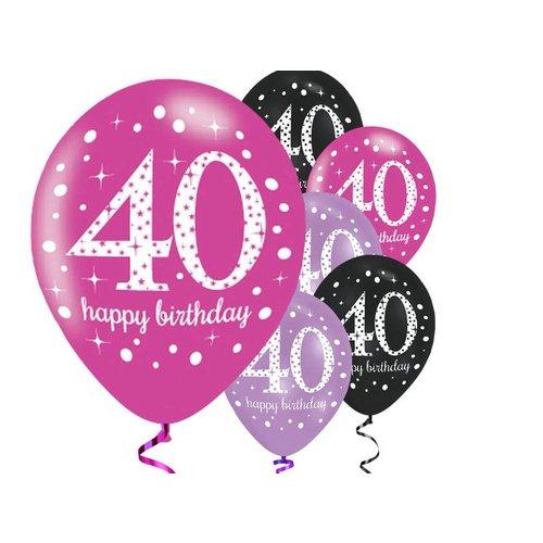 40 jaar ballonnen roze - zwart