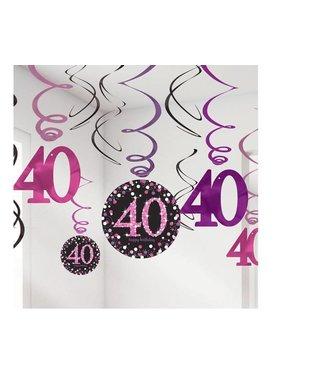 Amscan  40 jaar hang slinger roze