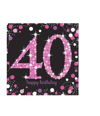 Amscan  40 jaar servetten roze