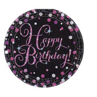 Happy birthday borden roze - zwart
