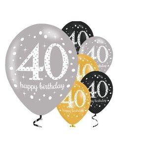 40 jaar ballonnen goud - zwart
