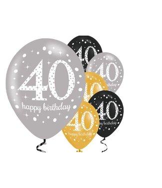 Amscan  40 jaar ballonnen goud - zwart