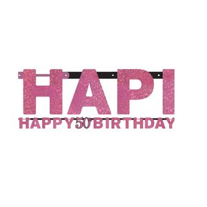50 jaar happy birthday letter slinger roze