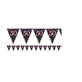50 jaar vlaggetjes roze