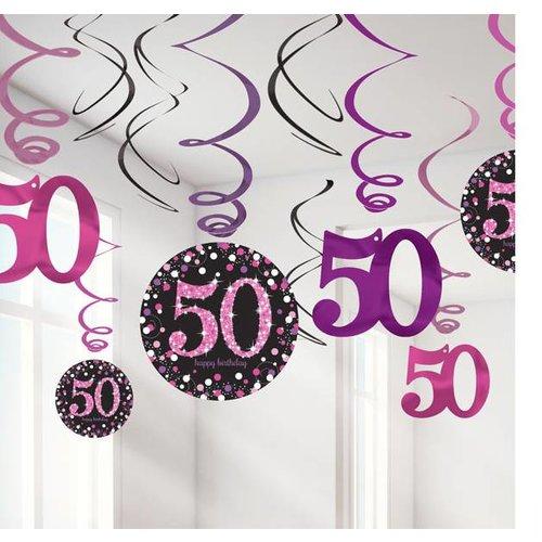 50 jaar swirl hang slingers roze