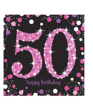 50 jaar servetten roze