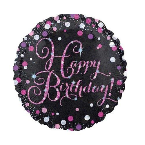 happy birthday ballon roze zwart
