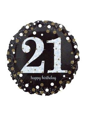 21 jaar folie ballon zwart/goud