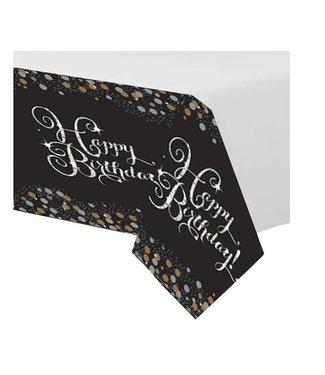 tafelkleed happy birthday zwart goud
