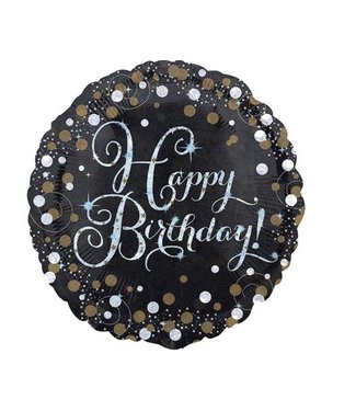 Happy birthday folie ballon zwart/goud