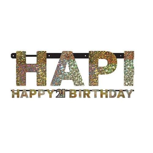 21 jaar happy birthday slinger zwart/goud
