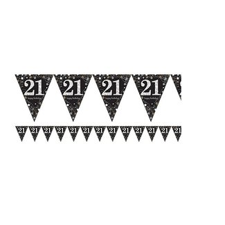 21 jaar vlaggetjes zwart/goud