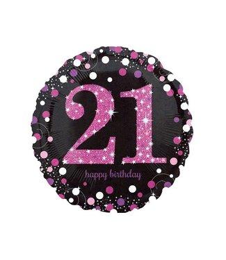 21 jaar folie ballon roze/zwart