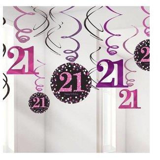 21 jaar hang slinger roze/zwart