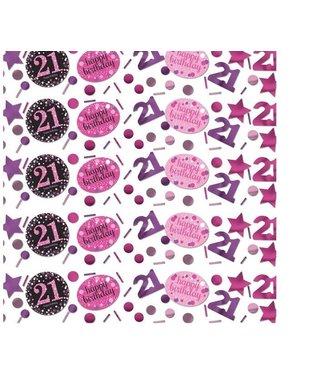 21 jaar confetti roze/zwart