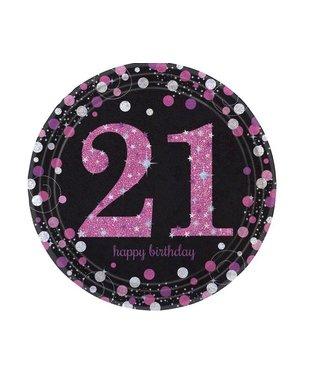 21 jaar borden roze/zwart