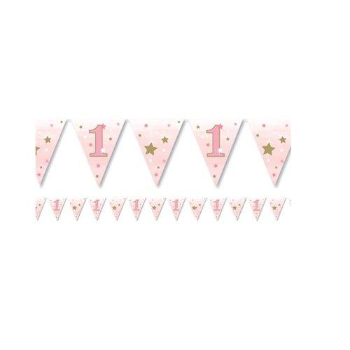 Twinkle 1 jaar vlaggetjes roze