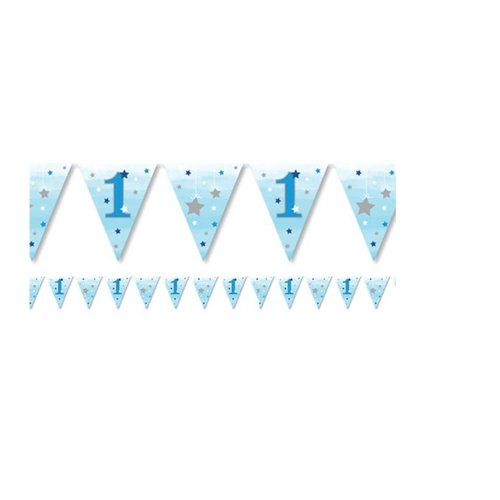 Twinkle 1 jaar blauw vlaggetjes
