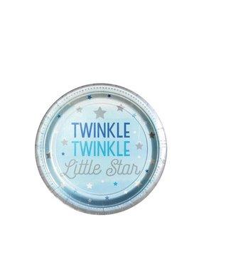 Amscan  Twinkle 1 jaar gebaksbordjes blauw