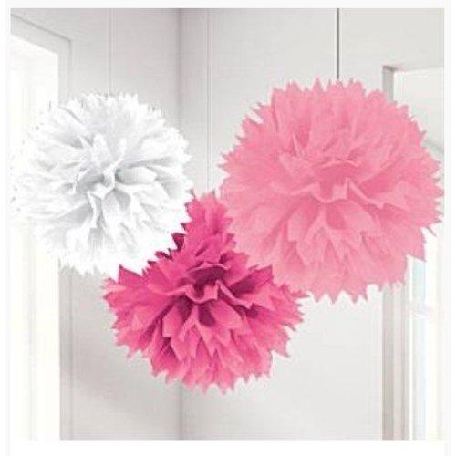 Pom Poms roze/wit