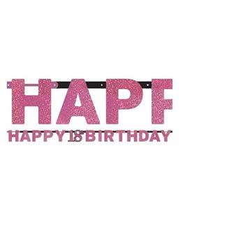 18 jaar happy birthday slinger roze