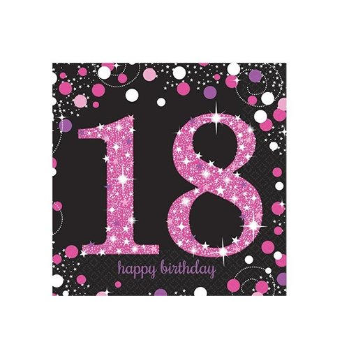 18 jaar servetten roze