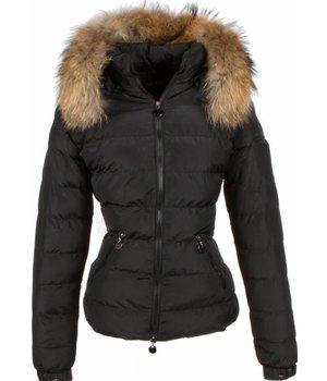 Adrexx Fur Collar Coat - Women's Winter Coat Short/Long - 2 Zippers - Black
