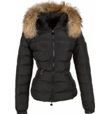 Adrexx Fur Collar Coat - Women's Winter Coat Short/Long - 2 Zippers - Black