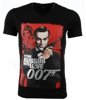 Mascherano T-shirt - James Bond From Russia 007 Print - Black
