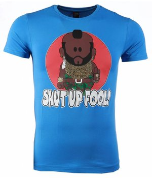 Mascherano T-shirt - A-team Mr.T Shut Up Fool Print - Blue