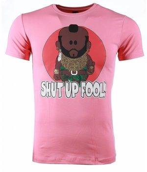 Mascherano T-shirt - A-team Mr.T Shut Up Fool Print - Pink