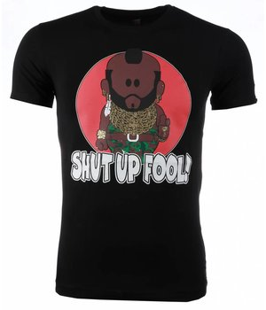 Mascherano T-shirt - A-team Mr.T Shut Up Fool Print - Black