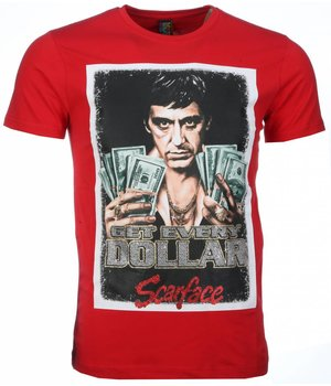 Mascherano T-shirt - Scarface Get Every Dollar Print - Red