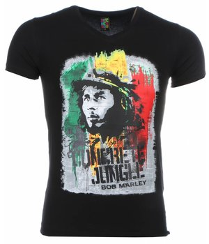 Mascherano T-shirt - Bob Marley Concrete Jungle Print - Black