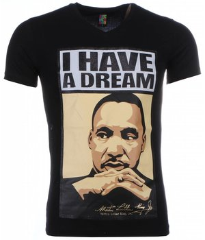 Mascherano T-shirt - Martin Luther King I Have A Dream Print - Black