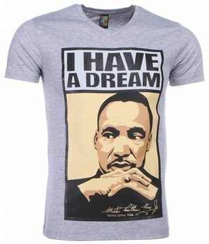 Mascherano T-shirt - Martin Luther King I Have A Dream Print - Grey