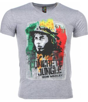 Mascherano T-shirt - Bob Marley Concrete Jungle Print - Grey