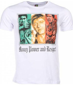 Mascherano T-shirt - Scarface Money Power Respect Print - White