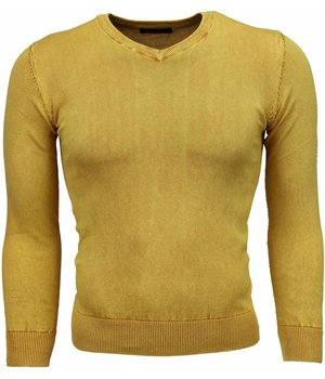 Bruno Leoni Casual Sweater - Exclusive Blank V-Neck - Yellow