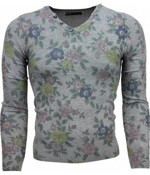 Belman Casual Sweater - Floral Motif Print Men - Dark Grey