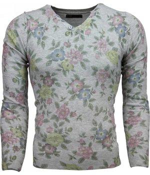 Belman Casual Sweater - Floral Motif Print Men - Light Grey