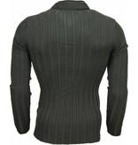 Belman Casual Sweater - Scarf Collar Design Stripes Motif - Black
