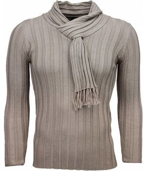Belman Casual Sweater - Shawl Collar Design Stripes Motif - Beige